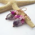 Lila-rózsaszín - réz fülbevaló, Ékszer, Fülbevaló, Vörösréz drótból, 4 mm-es színezett jáde gyöngyökből és ovális ametisztből készült fülbevaló.  Hossz..., Meska