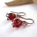 Piros tulipánok - réz fülbevaló, Vörösréz drótból és 8 mm-es üveggyöngyből...