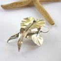 Ezüstszín szívlevél - fülbevaló, Alumínium lemezből formázott levelek acél dró...