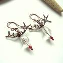 Rudolf - réz fülbevaló, Vörösréz drótból, üveg- és akrilgyöngyből...