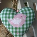 Madárka (zöld kockás) - vidéki romantika szív, Zöld kockás anyagból készült ez a szívecske,...