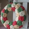 """Rózsakoszorú - """"Vadvirágok"""", Otthon, lakberendezés, Dekoráció, Koszorú, Ajtódísz, kopogtató, Rózsakoszorú, kézzel egyenként hajtogatott rózsákból, 25 cm-es koszorú alapon. Kész átmérő: 28 cm..., Meska"""