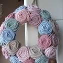 """Rózsakoszorú - """"Pasztell"""", 15 cm-es koszorú alapra készítettem rózsakoszo..."""