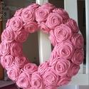 """Rózsakoszorú - """"Puncs"""", Baba-mama-gyerek, Otthon, lakberendezés, Dekoráció, Koszorú, 25 cm-es alapra készült ez a rószakoszorú. Koszorúimat természetes alapanyagra készítem, rózsáimat e..., Meska"""