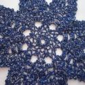 Jégcsillag terítő, Otthon, lakberendezés, Dekoráció, Ünnepi dekoráció, Lakástextil, Kézzel horgolt kék-ezüst színű csillag terítő, 26 cm átmérőjű., Meska
