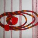 Naplemente ékszerszett - FÉMMENTES, Ékszer, Ékszerszett, Piros, narancs, bordó, barna melírozott fonalból kötöttem ezt az ékszerszettet, teljes egészében FÉM..., Meska
