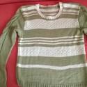 Green nőii pulcsi, Ruha, divat, cipő, Női ruha, Felsőrész, póló, 100% pamut fonalból kézzel kötött, csíkos és fonott mintás pulcsi. Nem tudtam rendesen fotózni a szí..., Meska