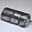Hosszú, egyedi mintás csavart fém gyűrű (GY008), Anyák napja, Ékszer, Szerelmeseknek, Gyűrű, Ékszerkészítés, Fémmegmunkálás, Egyedi kialakítású csavart fém gyűrű fekete kiemeléssel.  Belső átmérője: fix 17mm Hossza: 40mm Súl..., Meska