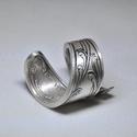 Ezüstözött különleges antik gyűrű (GY004), Egyedi kialakítású ezüstözött, csavart fém ...