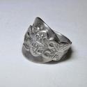 Állat mintás fém gyűrű kanálból (GY046), Saját készítésű különleges állat mintás f...