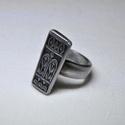 Bagoly mintás fém gyűrű (GY081), Saját készítésű bagoly mintás fémgyűrő, e...