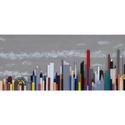 Modern városkép, Képzőművészet, Vegyes technika, Fa lapra készült főleg műanyag hasábok illetve újra hasznosìtható elemekből áll.Mérete:kb..., Meska