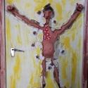 Menekülő ember, Képzőművészet, Illusztráció, Fotó, grafika, rajz, illusztráció, Az alkotás agyagból készült farostlemez felhasználásával.Méretei:34×41 cm., Meska