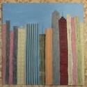 Textil városkép, Képzőművészet, Vegyes technika, Rétegelt lemezre textilből készült alkotás.Mérete:70×70 cm., Meska