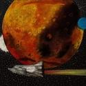 Utazás a Marsra, Képzőművészet, Grafika, Illusztráció, Fotópapirra pasztellkrétával készült alkotás.Mérete:50×70 cm., Meska