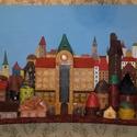 Óváros, Képzőművészet, Vegyes technika, Rétegeltlemezre bőrből,cipőkből,övekből és újrahasznosítható elemekből készült alkotá..., Meska