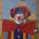 Cirkusz, Képzőművészet, Vegyes technika, Farostlemezre gipszből és filcanyagból készült alkotás.Mérete:74×58 cm., Meska