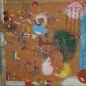 Gyermeki fantázia, Képzőművészet, Festmény, Festmény vegyes technika, Vászonra festett alkotás.Mérete:54×54 cm., Meska