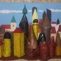 Óváros 2, Képzőművészet, Vegyes technika, Rétegeltlemezre ragasztott,cipőkből és újra hasznosítható anyagokból készült alkotás.Mér..., Meska