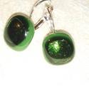 A fenyő zöldje - ékszerüveg fülbevaló, Bullseye üveg felhasználásával készítettem e...