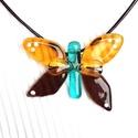 Pillangó ékszerüveg nyaklánc, 99%-ban orvosi fémmel szerelve , Ékszerüvegből készítettem ezt a csodás pilla...