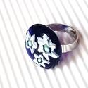 Ékszerüvegből készült gyűrű, Ékszer, Gyűrű,  Moretti ékszerüvegből és millefiori gyöngyökből készítettem a gyűrűmedált olvasztásos ..., Meska