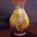 Buddha váza, Dekoráció, Dísz, Decoupage, transzfer és szalvétatechnika, A váza kerámiából van, amelyre dekupázs technikával készítettem a mintát. Festve akrillal, impregná..., Meska