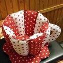 Csillagos textil csésze, Konyhafelszerelés, Bögre, csésze, Varrás, 17cm magas, 19cm az átmérője, nem törékeny :-), fehér alapon piros csillagos és piros alapon fehér ..., Meska
