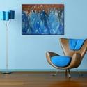 Kék és bronz  akril festmény, Dekoráció, Képzőművészet, Otthon, lakberendezés, Festmény, Festészet, Festett tárgyak, Kék és bronz akrilfestékből készült festmény, csurgatott technikával.  Méret: 50*70 cm, Meska