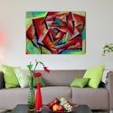 Absztrakt Rózsa Akril Festmény, Dekoráció, Képzőművészet, Otthon, lakberendezés, Festmény, Festészet, Festett tárgyak, Absztrakt rózsa Mérete: 50*70 cm, Meska
