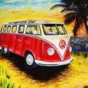 Volkswagen Busz Olajfestmény, Képzőművészet, Otthon, lakberendezés, Festmény, Olajfestmény, Festészet, Festett tárgyak, Méret: 50*70 cm, Meska