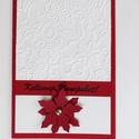 Karácsonyi képeslap, üdvözlőlap, ajándékkísérő, virágos képeslap, pénzátadótasakként is elkészítem, Karácsonyi, adventi apróságok, Ajándékkísérő, képeslap, Papírművészet, Újrahasznosított alapanyagból készült termékek,  Kék 220 grammos papírból készülnek általában a kivágatok.  A domborított papír a kedvencem.  Pénzá..., Meska