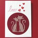 Szerelmes macskák, cicakedvelőknek, ajándékkísérő minden alkalomra, karácsonyra is ajánlom, Naptár, képeslap, album, Esküvő, Képeslap, levélpapír, Normál méretű képeslap sablonnal készített.   Ajánlom minden alkalomra, vagy csak úgy, szeretettel. ..., Meska