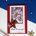 Karácsonyi képeslap, télapóminta, mikulás, mikulásvirággal, piros , arany színekkel., Dekoráció, Karácsonyi, adventi apróságok, Ünnepi dekoráció, Ajándékkísérő, képeslap, Papírművészet,  Egyedi Kézzel készített, normál méretű képeslap. Nyomdatechnikával készült.  Normál méretű a képes..., Meska