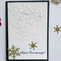 Karácsonyi képeslap , ajándékkísérő, Ajándék, domborított, , Karácsonyi, adventi apróságok, Képzőművészet, Ajándékkísérő, képeslap, Papírművészet, Karácsonyi képeslap, aminek a felső rétege domborított papír. Az alsó réteg más színű is lehet, te ..., Meska