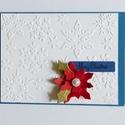Karácsonyi képeslap, aminek a felső rétege domborított papír. Különféle színekben elkészítem , kedved szerint. , Dekoráció, Karácsonyi, adventi apróságok, Ajándékkísérő, képeslap, Karácsonyi dekoráció, Papírművészet, Újrahasznosított alapanyagból készült termékek, Karácsonyi képeslap, aminek a felső rétege domborított papír. Az alsó réteg más színű is lehet, te ..., Meska