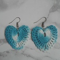 Horgolt szivecske fülbevaló, Ékszer, óra, Fülbevaló, Horgolt , melírozott kék fonalból, szívecske   alakú, elegáns fülbevaló. 4 cm hosszú, 4 cm ..., Meska
