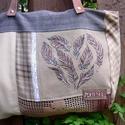 Szív-esen 3., Táska, Válltáska, oldaltáska, A bohém hangulatú táska különböző textilek kombinációjaként született. Egyedi textilkép díszíti, mel..., Meska
