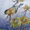 """Fényes madárka- akril festmény, Képzőművészet, Festmény, Akril, Festészet, """" ... Egy fényes kismadár torkát megnyitotta. ...""""    Jankovich Ferenc Keretre feszített vászonra k..., Meska"""