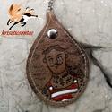 """""""Álompasi""""- kulcstartó 1., Mindenmás, Kulcstartó, Pirográffal és kézi festéssel készült ez a csepp alakú bőr kulcstartó. Mérete: 5,5 x 8 cm . Lánc hos..., Meska"""