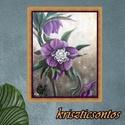 """Libegő lila virág- akril festmény, Képzőművészet, Festmény, Akril, """" ... Leveles ágról lila virág Sóhajtja szélbe szép illatát...""""     Andók Veronika Keretre feszített..., Meska"""