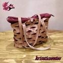 Táska- különlegesség..., Táska, Válltáska, oldaltáska, Valódi bőrből és szövetanyagból készült ez a táska, mely két darabból áll: - Külső, bőr része áttört..., Meska