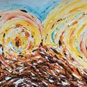 """""""Áramlás"""" - Festmény, Képzőművészet, Festmény, Akril, Napi festmény, kép, Festészet, 11x15 cm-es akril festmény. Ecsettel és festőkéssel készítettem. Eredeti, egyedi festmény, adott pi..., Meska"""
