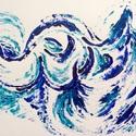 """""""Hullámok-hátán""""- festmény, Képzőművészet, Festmény, Akril, Napi festmény, kép, Festészet, 24x32  cm-es akril festmény.  Ecsettel és festőkéssel készült. Eredeti, egyedi festmény, adott pill..., Meska"""