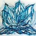 """""""Kék láng""""- festmény, 30x40  cm-es akril festmény.  Ecsettel és festő..."""