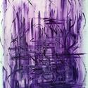"""""""Levendula""""- festmény, Képzőművészet, Otthon, lakberendezés, Festmény, Falikép, Festészet, 30x40 cm-es akril festmény.  Ecsettel és festőkéssel készült. Eredeti, egyedi festmény, adott pilla..., Meska"""