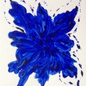 """""""Kék nefelejcs""""- festmény, Képzőművészet, Dekoráció, Otthon, lakberendezés, Festmény, 10,5x15 cm-es akril festmény.  Ecsettel és festőkéssel készült. Eredeti, egyedi festmény, adott pill..., Meska"""