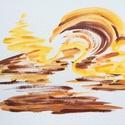 Napfény játszik a homokban.- festmény, Otthon & lakás, Képzőművészet, Festmény, Dekoráció, Lakberendezés, 24x32  cm-es akril festmény.  Ecsettel és festőkéssel készült. Eredeti, egyedi festmény, adott pilla..., Meska