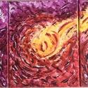 A fény átmelegít-3 db-os festmény, Képzőművészet, Dekoráció, Otthon, lakberendezés, Festmény, Festészet, 72x30 cm-es 3 db-ból álló vászon akril festmény.  A kép 3 db 24x30 cm-es képből áll. A 3 kép egysze..., Meska