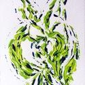 Zöld és kék játéka- festmény, Képzőművészet, Dekoráció, Otthon, lakberendezés, Festmény, Festészet, 10,5x15  cm-es akril festmény.  Ecsettel és festőkéssel készült. Eredeti, egyedi festmény, adott pi..., Meska